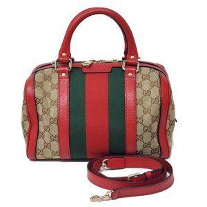100% Auth Gucci Small Boston Canvas Crossbody Bag